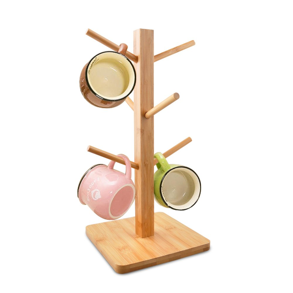cuteadoy Mug Rack Tree, Removable Bamboo Mug Stand, Storage Coffee Tea Cup Organizer Hanger Holder with 6 Hooks …