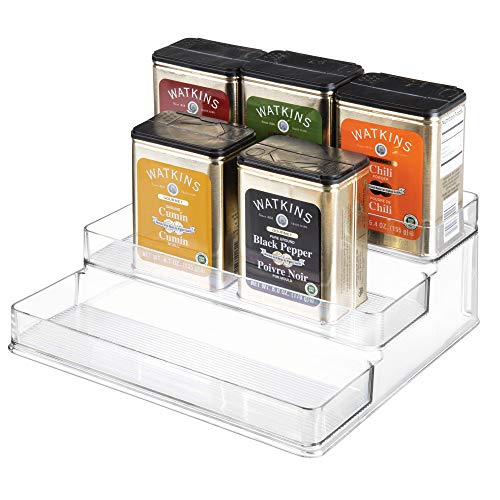 "iDesign Linus Plastic Stadium Spice Racks, BPA-Free 3-Tiered Organizer for Kitchen, Pantry, Bathroom, Vanity, Office, Craft Room Storage Organization, 10.25"" x 9.25"" x 4"", Clear"