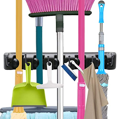 Broom Mop Holder Wall Mounted Garden Garage Rack Tool Hanger Storage Organizer(5 Position with 6 Hooks)