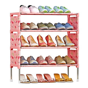 FKUO 4-Tier Shoe Rack Organizer Storage Bench - Holds 12 Pairs - Organize Your Closet Cabinet or Entryway - Easy to Assemble - No Tools Required (Lucky cherry)