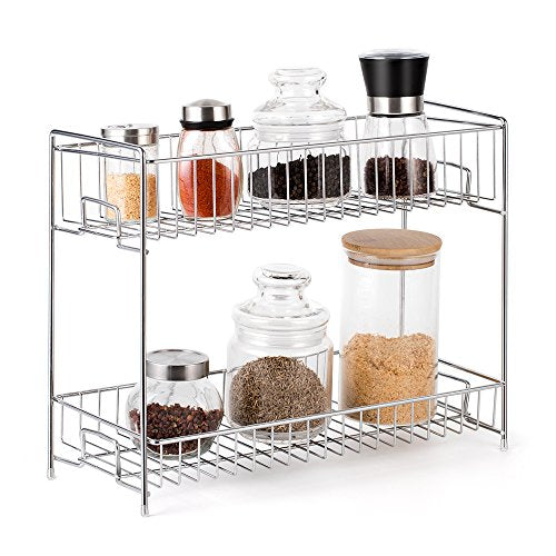 NEX 2-Tier Standing Rack Countertop Storage Organizer Spice Jars Bottle Shelf Holder Rack Kitchen Bathroom