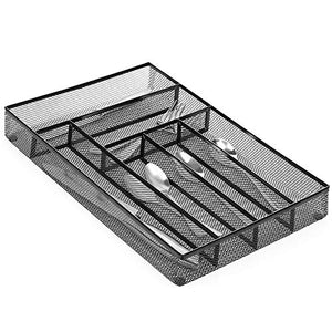NEX Cutlery Tray, Mesh Silverware Storage Tray - Kitchen Drawer Organizer, Flatware Tray with Foam Feet, 6 Compartment