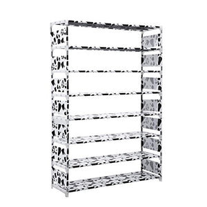 Ferty 8 Tier Freestanding Shoe Rack 32 Pairs Large Capacity Stackable Shoe Storage Holder [US Stock] (White)