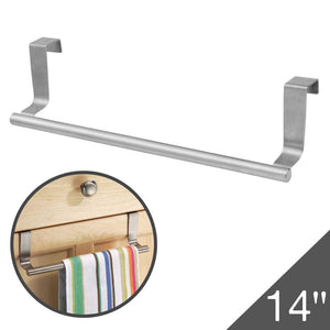 "Slip On Rack | Heavy Duty Stainless Steel 14"" Over the Cabinet Kitchen Dish Towel Rack / Bar with 22 Lbs of Maximum Load, Effortless Installation on Any Kitchen Cabinet Organizer, Sleek Silver"