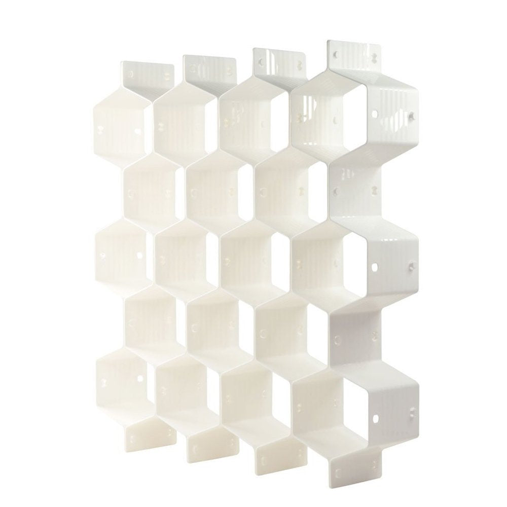 ShineMe 8pcs DIY Drawer Divider Organizer Honeycomb Household Thickening Housing Spacer Sub-grid Storage for Home Tidy Cabinet Closet Stationary Makeup Socks Underwear Scarves (White)