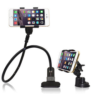 [Upgraded Version,More Flexible] BESTEK® 2-in-1 Gooseneck Flexible Cell Phone Clip Holder for Bed, Car, Desktop, with Car Vehicle Windshield Suction Cup Mount for iPhone /Samsung /GPS/Smartphone/iPad Mini