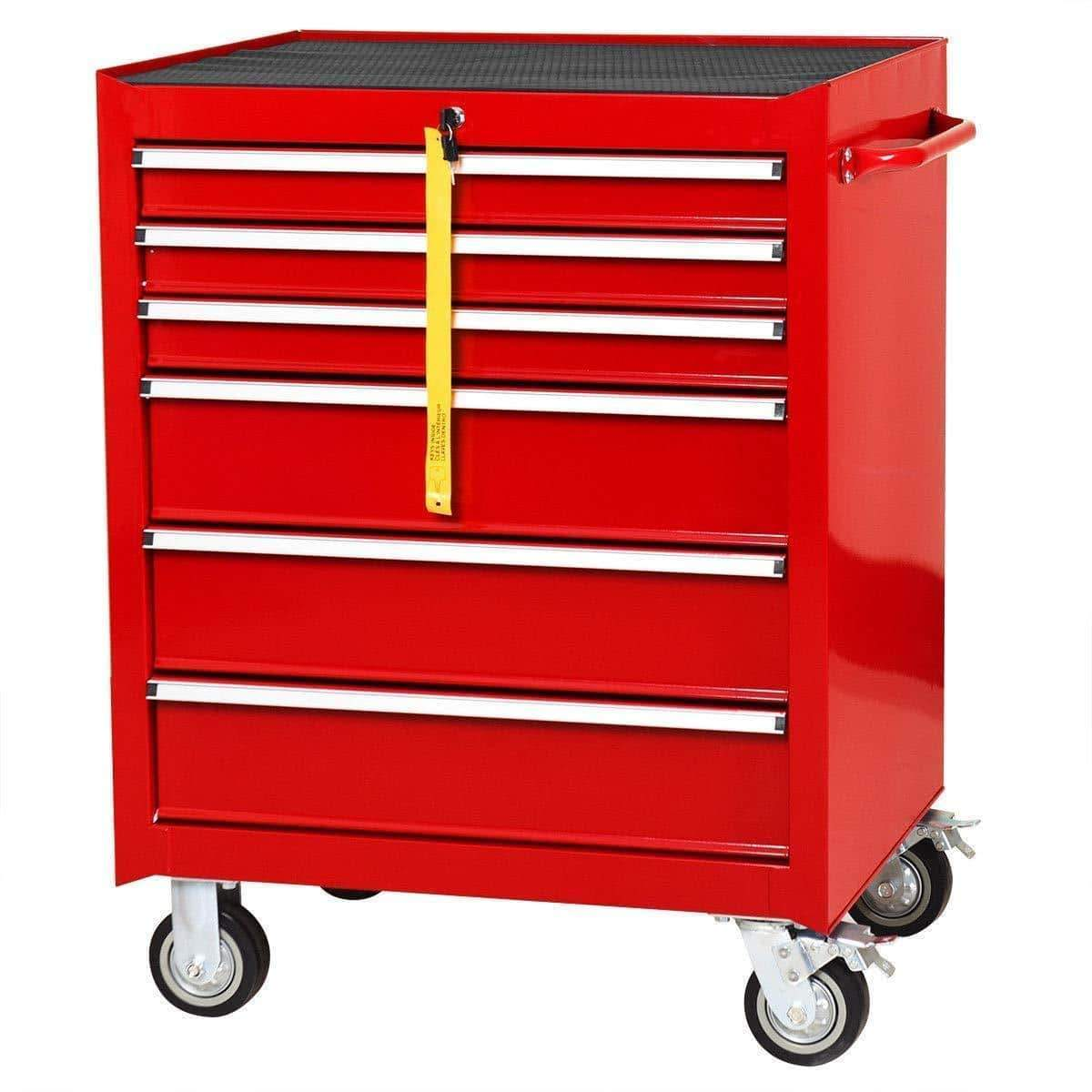 "Goplus 30"" x 24.5"" Tool Box Cart Portable 6-Drawer Rolling Storage Cabinet Multi-Purpose Tool Chest Steel Garage Toolbox Organizer with Wheels and Keyed Locking System (Classic Red)"
