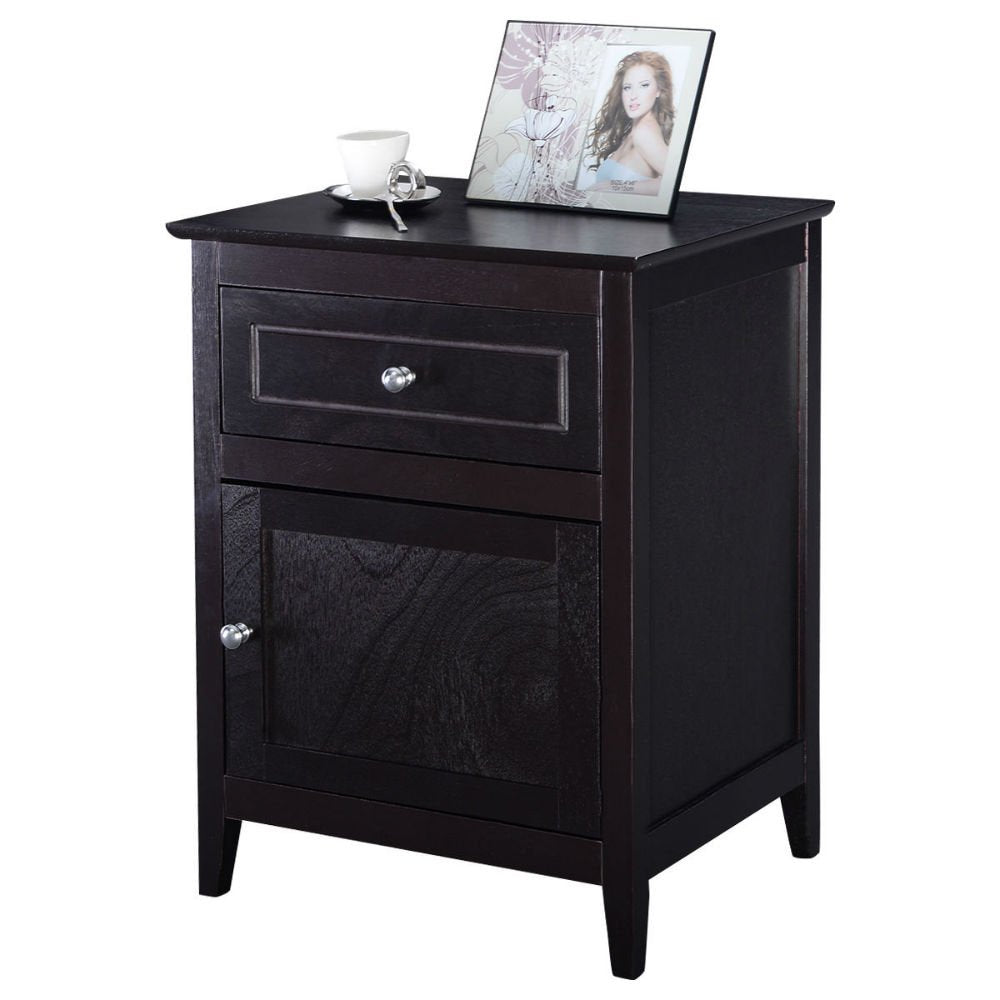 Accent End Table Nightstand Bedroom Living Room Furniture Espresso Beechwood