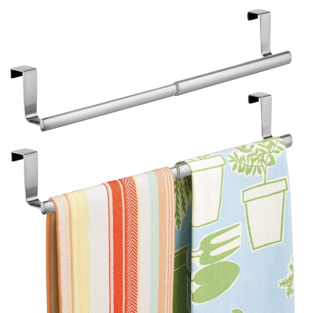 "mDesign Adjustable, Expandable Kitchen Over Cabinet Towel Bar - Hang on Inside or Outside of Doors, Storage for Hand, Dish, Tea Towels - 9.25"" to 17"" Wide, 2 Pack - Brushed Stainless Steel"