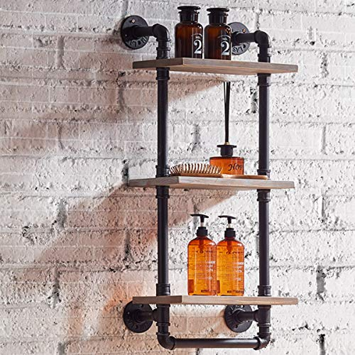 "FURVOKIA Industrial Vintage Bathroom Towel Rack,Wall Mount Towel Pipe Shelf,Bar Organization Wine Racks,Kitchen Accessories Storage Tool Cabinet (13.8""L x 8.6 ""W x 33.5""H inch)"
