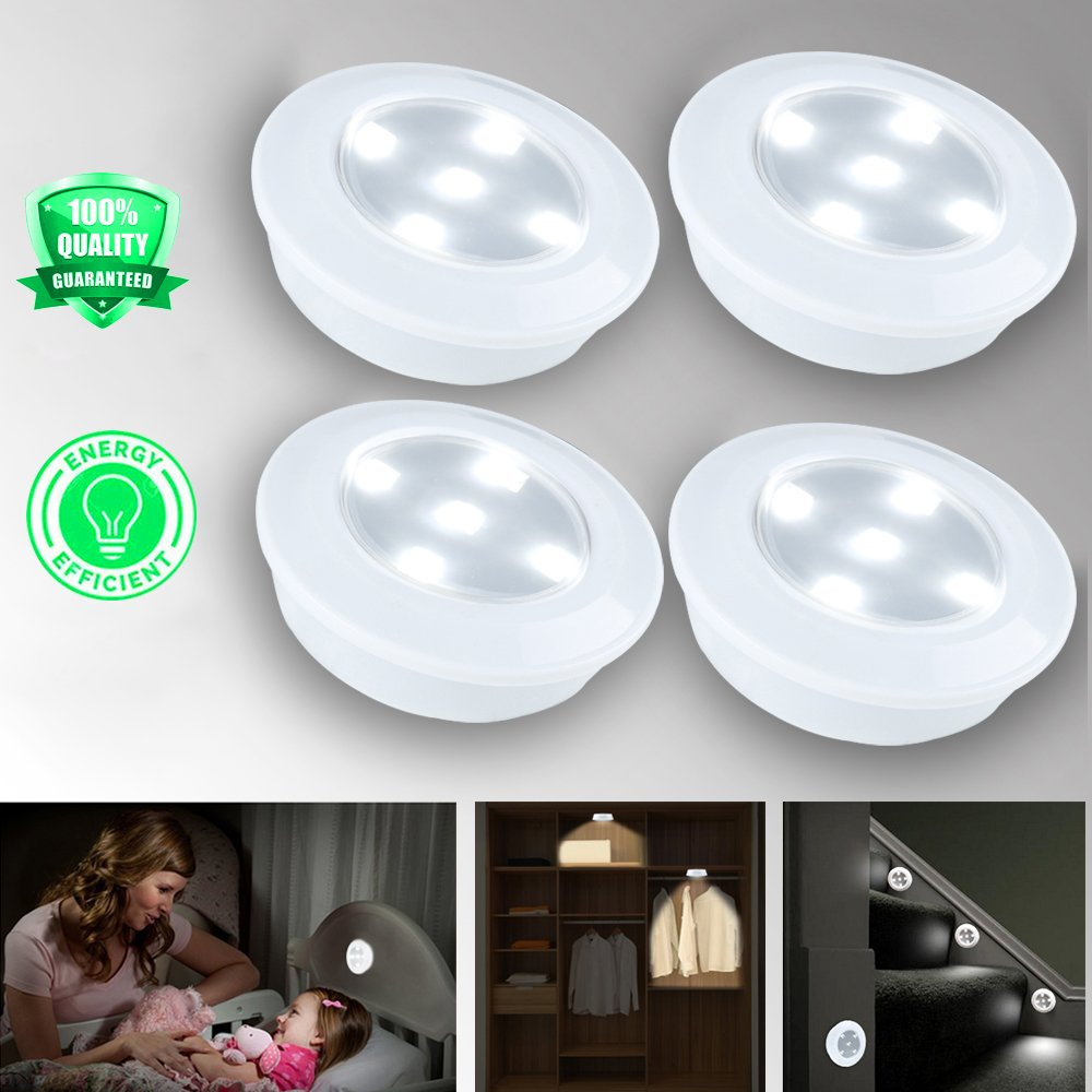 4pcs Wireless LED Puck Lights with Remote Control, Eyes-Protected Battery Operated Closet Lighting, Exquisite LED Under Cabinet Lighting,Dimmable Stick Anywhere LED Stair Lights by Makerfun Cool White