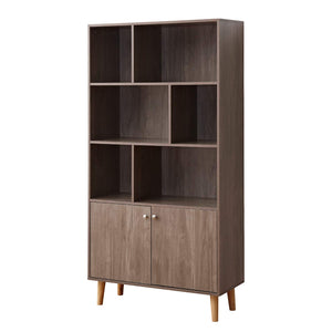 Soges Premuim Modern Display Storage Cabinet 67.4 inches High Free Standing Wood Bookshelf Home Office Cabinet, Salt Oak HHGZ006-GO