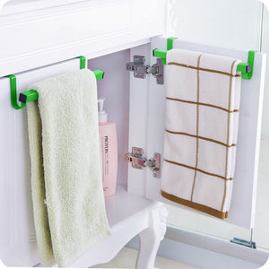 Ieasycan Over the Drawer Towel Rack Metal Dishcloth Bar Hanger Attach To Cabinet, Used In Kitchen, Bathroom (10 inch length, green)