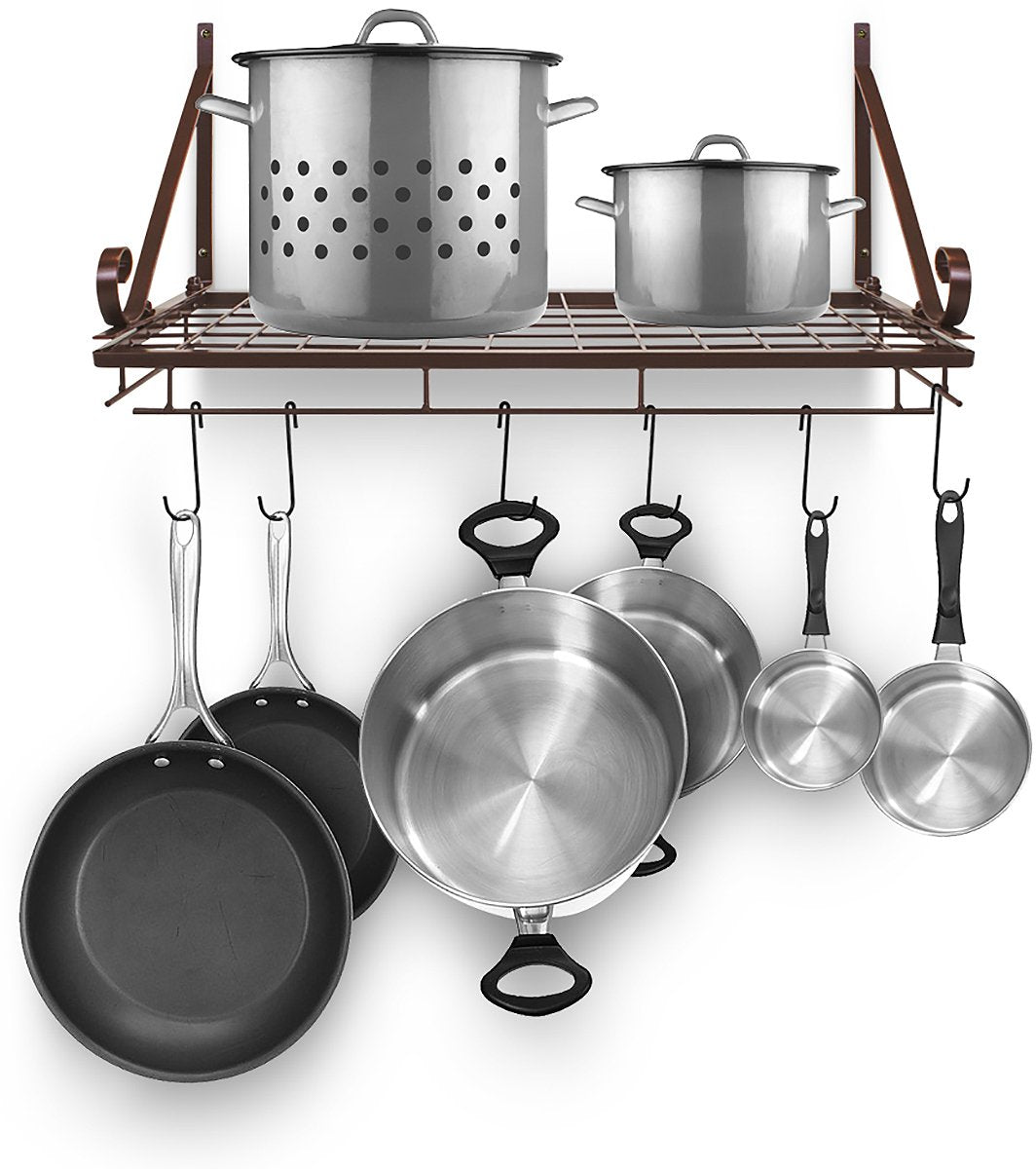 Sorbus Pots and Pan Rack — Decorative Wall Mounted Storage Hanging Rack — Multipurpose Wrought-Iron shelf Organizer for Kitchen Cookware, Utensils, Pans, Books, Bathroom (Wall Rack - Bronze)