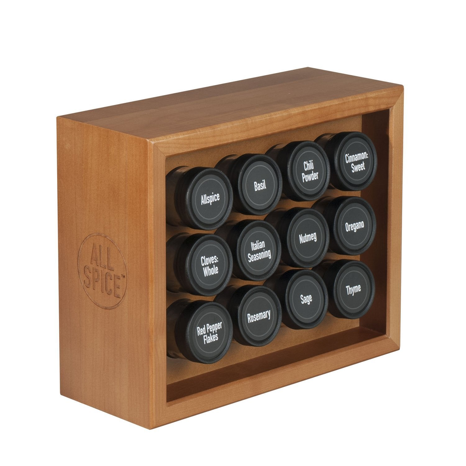AllSpice Wooden Spice Rack, Includes 12 4oz Jars- Cherry