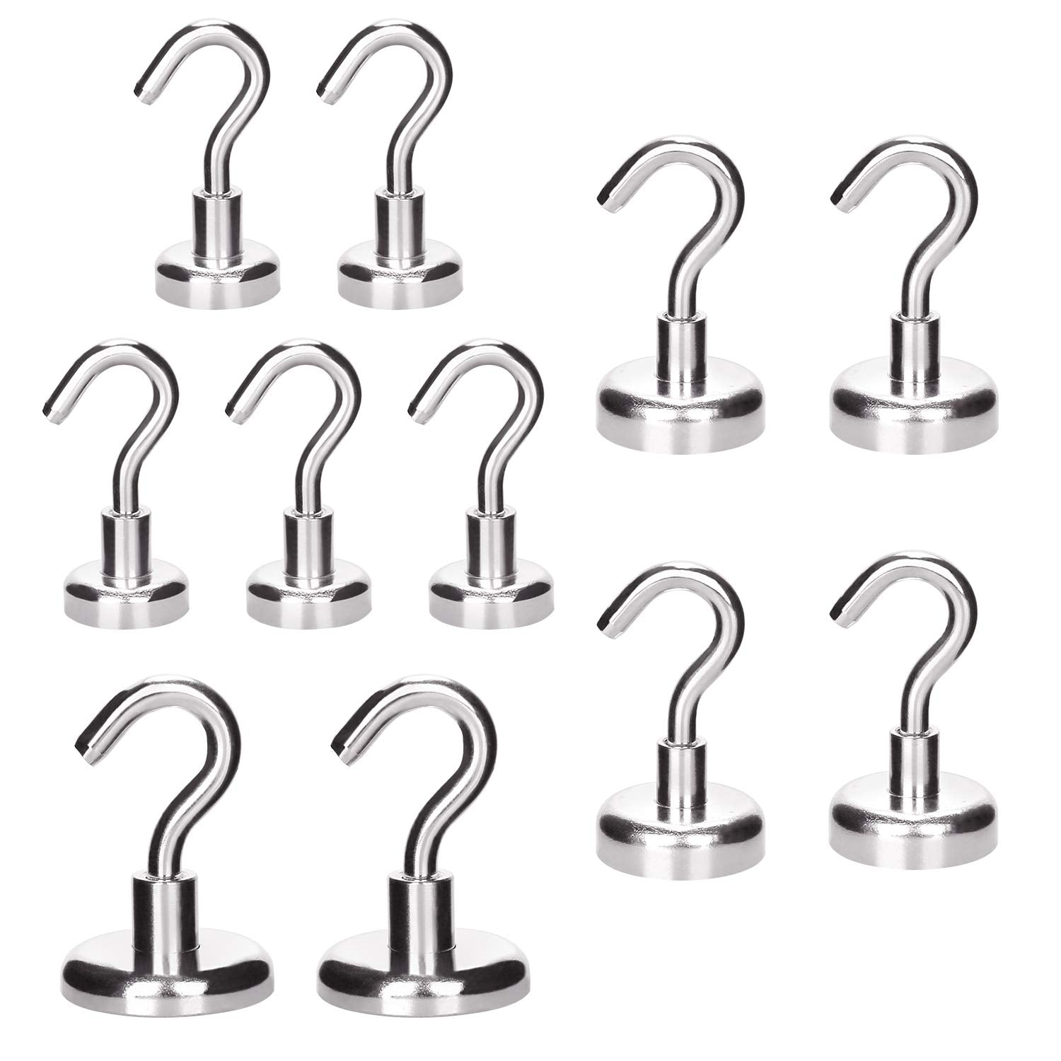 RONRI Magnetic Hooks, Powerful Heavy Duty Neodymium 18LB Magnet Hook for Refrigerator, Kitchen, Officce and Garage with Strong Corrosion Protection, 8PACK