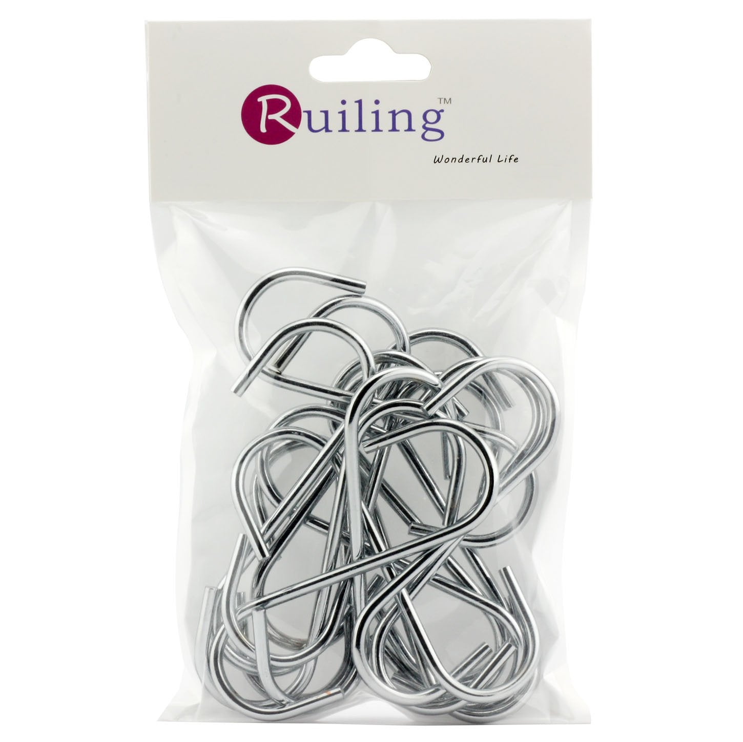 RuiLing 20 Pack 3.5 Inch Chrome Finish Steel Hanging Hooks - Heavy-Duty S Shaped Hook, for Kitchenware, Pots, Utensils, Towels, Gardening Tools, Clothes