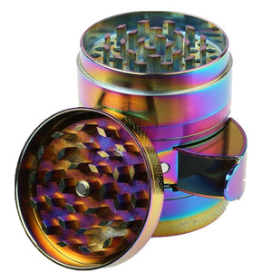 Engshwn New Design Premium Zinc Alloy Colourful Rainbow Pollen Spice Tobacco Herb Grinder with a Unique Cabinet Door for Easy Collection 2.2 inch 4 Pieces
