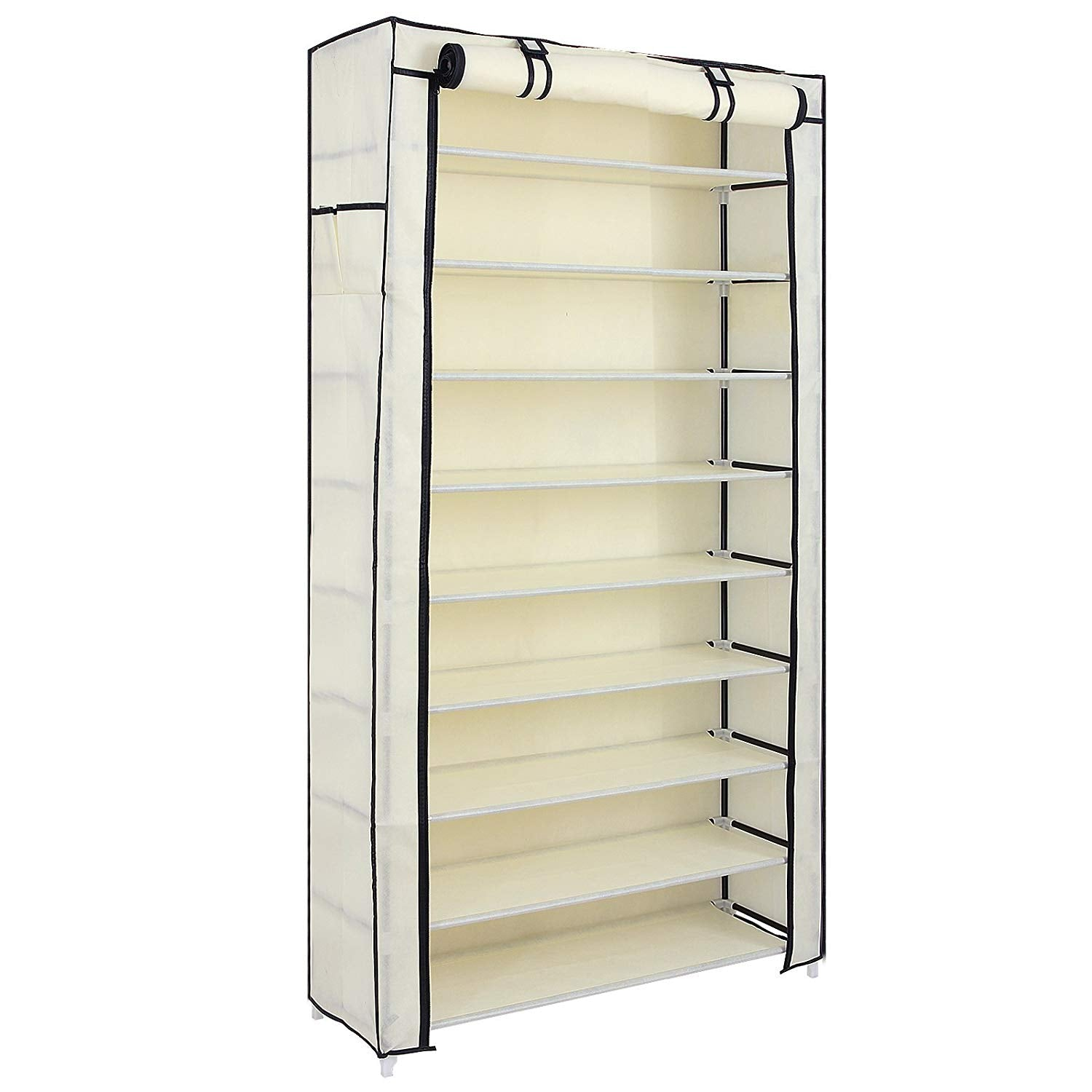 SONGMICS 10 Tiers Shoe Rack with Dustproof Cover Closet Shoe Storage Cabinet Organizer Beige URXJ36M