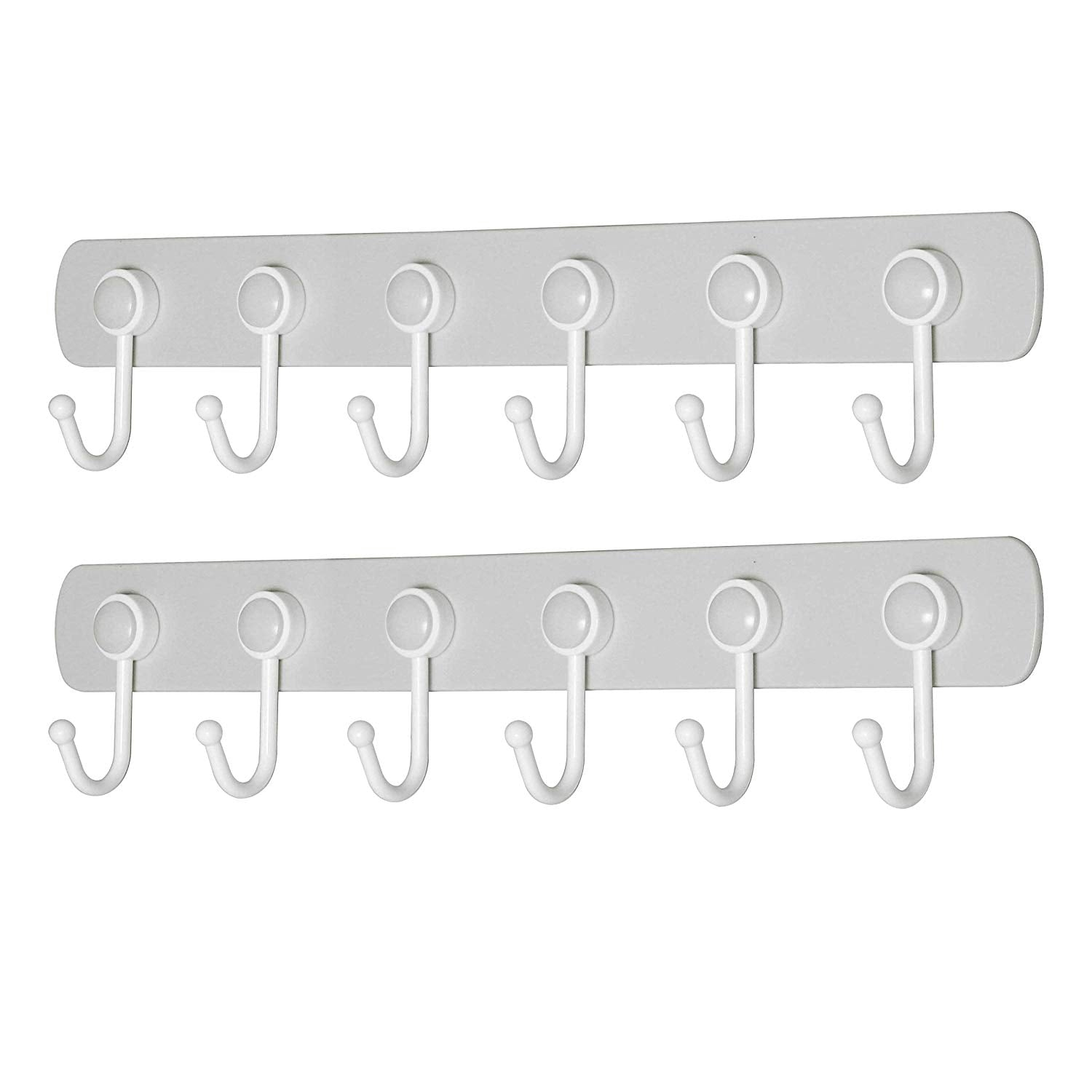 WEBI Wall Hooks Adhesive: 360°Rotatable, Ultra-Stick, Heavy Duty, Waterproof, 6-J-Hook, Plastic Utility Hook, Wall Hanger Rack Holder for Coat Towel Hats Keys Scarf Purse Kitchen Utensil – Grey,2 Pcs