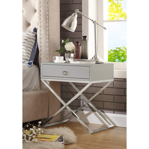 Gekko Grey Lacquer Finish Nightstand - Chrome Legs | Steel Base | Side Table | Modern | Inspired Home