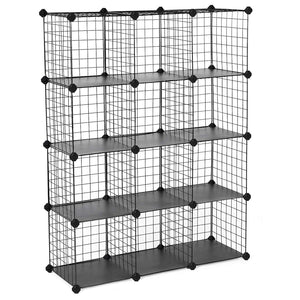"SONGMICS Metal Wire Cube Storage,12-Cube Shelves Organizer,Stackable Storage Bins, Modular Bookcase, DIY Closet Cabinet Shelf, 36.6""L x 12.2""W x 48.4""H, Black ULPI34H"
