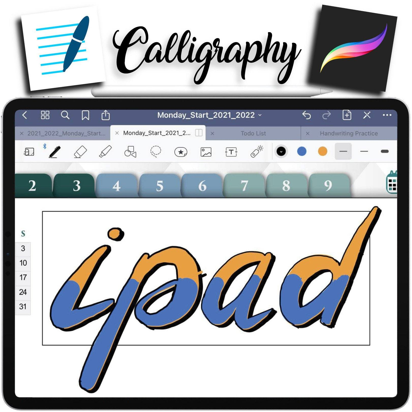 How To Do Calligraphy on GoodNotes like in Procreate for Header and Title ipadplanner.com