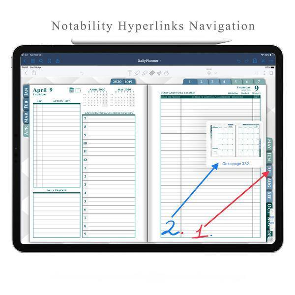 How to use Hyperlinks in Notability for Navigation in Digital Planner ipadplanner.com