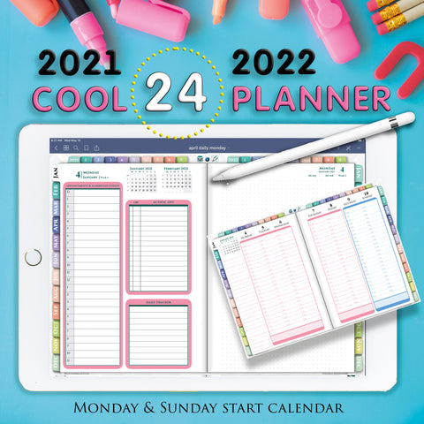 24 hour daily ipad planner for goodnotes noteshelf and notability