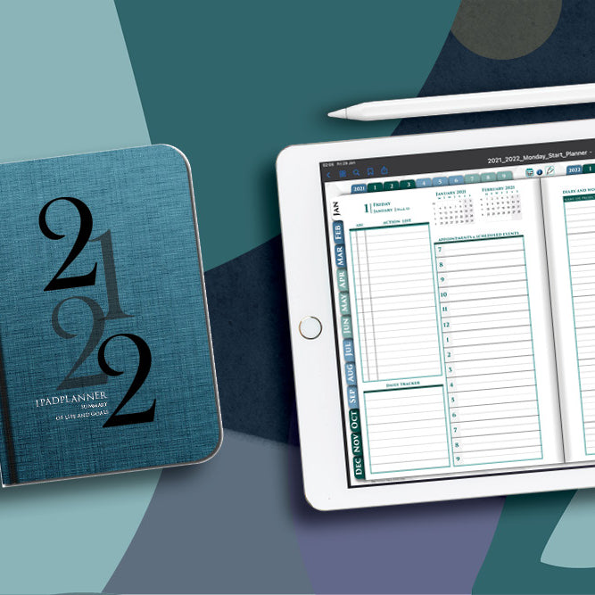 digital daily planner with white ipad. Calendar planner for 2021 2022