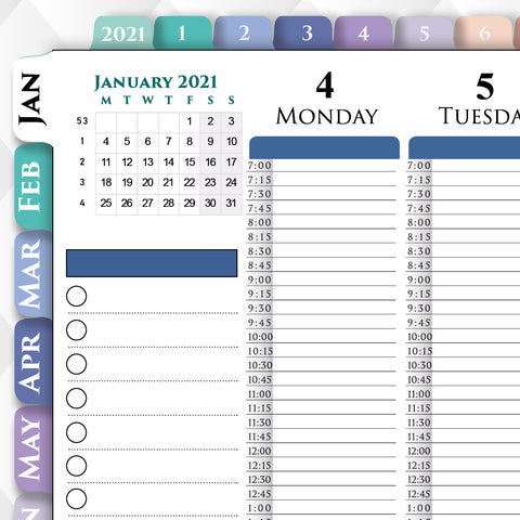 Digital 15 minute weekly planner for iPad GoodNotes, Notability, Noteshelf