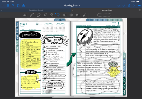 daily page template inside goodnotes 5 app