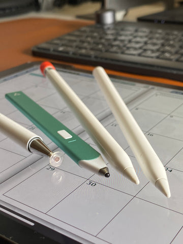 apple pencil 1 and 2, no name china stylus and Adonit snap 2 stylus for digital planning ipadplanner.com