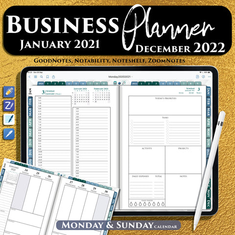 15 minutes ipad digital business planner for goodnotes, notability and noteshelf. 2021 2022 year planners