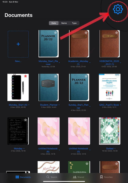 GoodNotes main page with planners and files