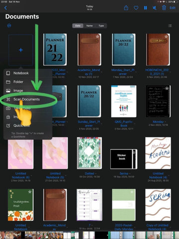Scan Document Button in GoodNotes 5 for convert paper document to digital PDF for annotation ipadplanner.com