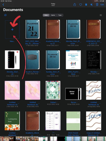 GoodNotes 5 files library and Document Creation Button ipadplanner.com
