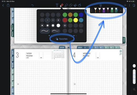 Notability favorite toolbar for save different pencil and highlighter settings