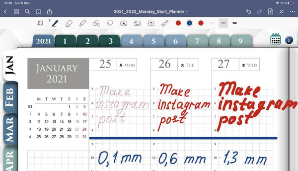 GoodNotes pencil size for handwriting ipadplanner.com