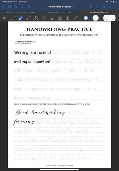 Handwriting Practice goodnotes page template for neat writing in ipad ipadplanner.com