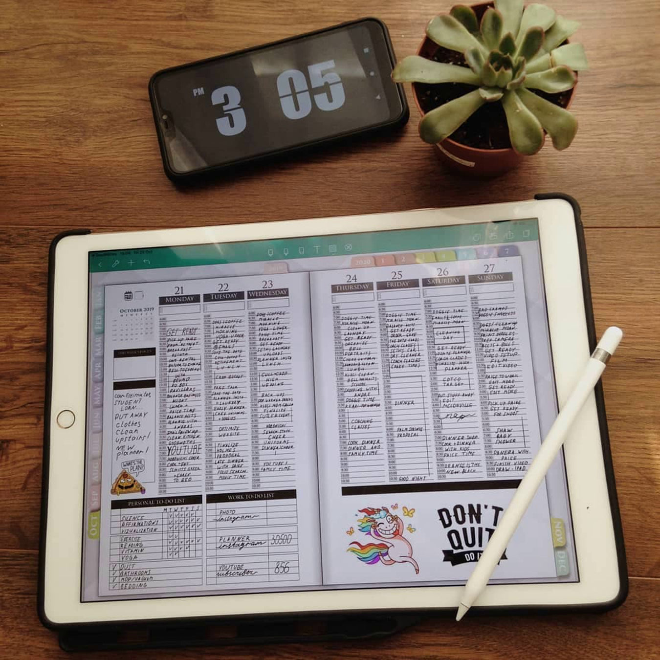 Hourly digital planners for ipad and goodnotes