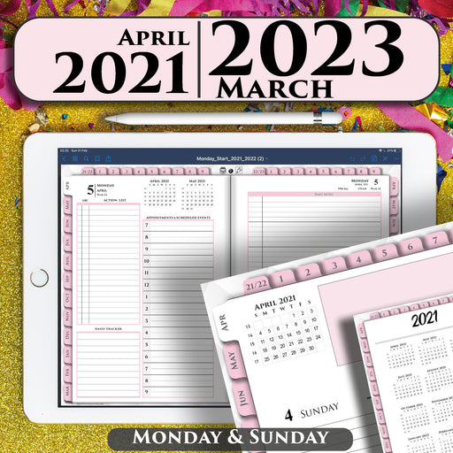 digital pink daily planner for goodnotes and notability