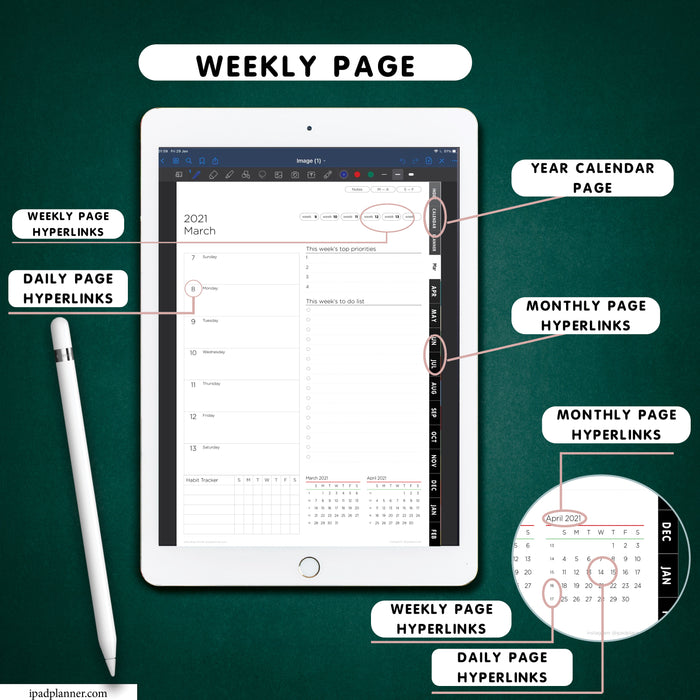 digital vertical weekly planner with black monthly tabs for goodnotes and nitability