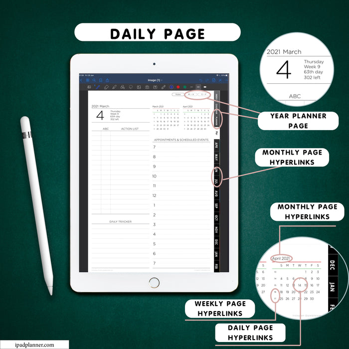 digital vertical daily black planner for goodnotes and notability