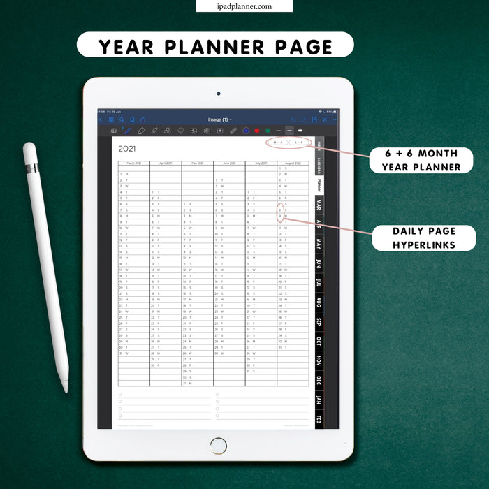 digital vertical year planner for 2021 2022 for ipad planning\