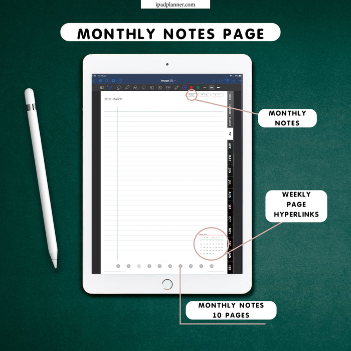 digital black goodnotes monthly notes page template for ipad planning ipadplanner.com