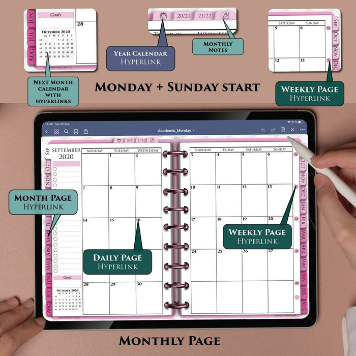 Pink Monthly Digital Planner for Notability and GoodNOtes ipadplanner.com