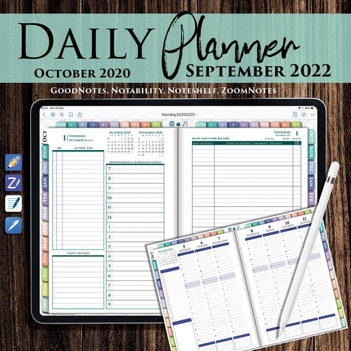 Digital Rainbow iPad Daily Hourly Planner for 2020 2021 2022 - iPad Planner