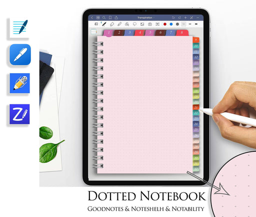 Pink Dotted Notebook Goodnotes Template Digital Journal Hyperlinked Tabs Simple iPad Planner Tablet Notability Noteshelf2 paper - iPad Planner