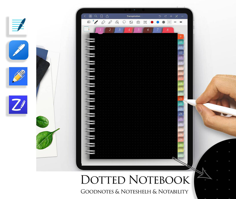 Digital Sketchbook Black Dotted Goodnotes Notebook Notability Noteshelf ZoomNotes Journal Hyperlinked template hyperlinks - iPad Planner